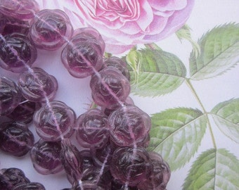 Vintage  Purple Rose  Flower Glass Bead