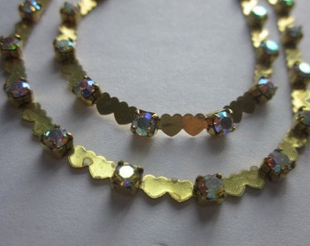 Crystal  Swarovski AB Double Heart Rhinestone  Chain 18 Inches