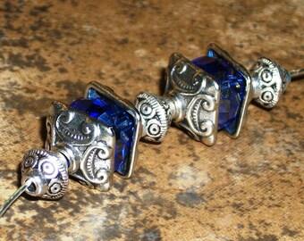 30 Tibetan antique silver square bead cap- 10mm -(30 pieces)