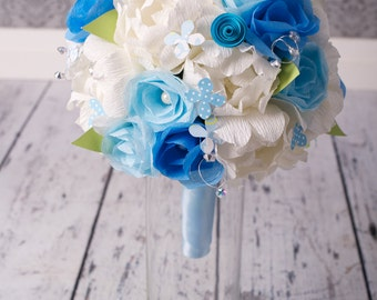Bridal Bouquet - PAPER Wedding Bouquet - Handmade White Peony and Blue Rose Paper Flowers