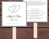 Hearts Program Fans Kit - Printing Included. Wedding ceremony programs