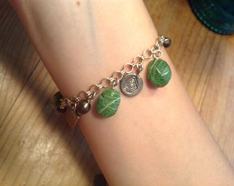 Sterling silver, jade green stone, bronze pearl bracelet, 7.5 inches, lobster claw clasp.