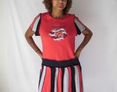 Upcycled Tshirt Pixie Dress Red, Grey and Black