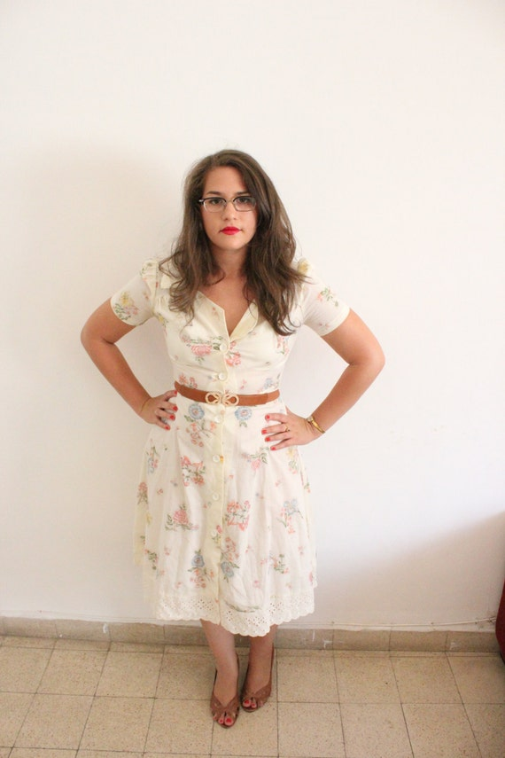 Vintage 1940s inspired 1970s Floral Country Dress - SALE