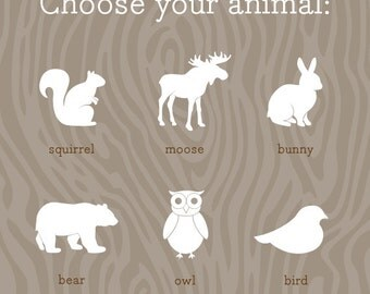 Woodland Nursery Prints / Cute Animal Art Prints / Choose from Squirrel, Moose, Bunny, Bear, Owl or Bird