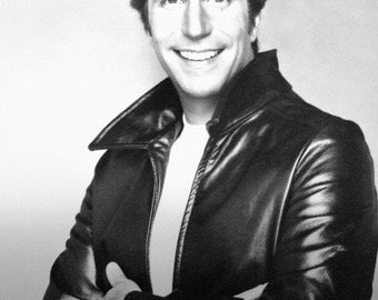 """Vintage Photo of Henry Winkler as """"The Fonz"""" from Happy Days, Iconic TV Character, Classic Television Series, Gift For Her, Christmas"""