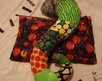 Green tentacle body pillow unfilled zipper case novelty pillow tentacles Patchwork crazy quilt colorful pillow