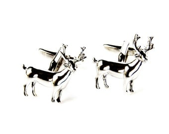 Deer Cufflinks - Groomsmen Gift - Men's Jewelry - Gift Box Included