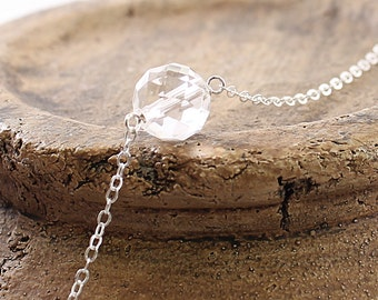 Natural clear crystal necklace - quartz crystal necklace, sterling silver jewelry, white quartz necklace, ball simple necklace