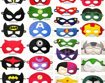 60 felt Superhero masks party pack - for kids ten adults - YOU CHOOSE STYLES - Dress up play Photo props accessory - Birthday Wedding favors