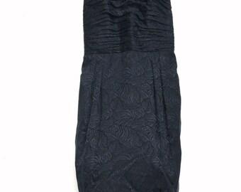 VTG 80s Strapless Silk Neiman Marcus Dress with Rosette Print - Sz 14