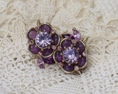 RESERVED for LIBRALOU Vintage Liz Claiborne Rhinestone Purple and Lavender Floral Spray Brooch Pin