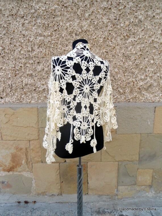Crochet Wedding Shawl, Bridal Champagne Shawl,  Bridesmaid Wrap,  Lace Bridesmaid Fashion READY TO SHIP