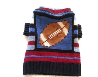 Designer Dog Sweater, X Small Striped Football, Pet Puppy Apparel Clothes Boutique