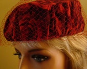 Vintage Pillbox Hat Red with netting