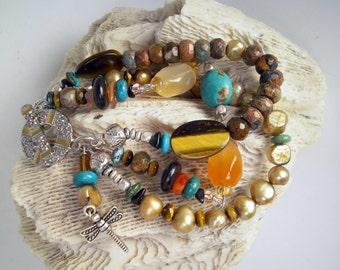 Multistrand agate, jasper, tigers eye, pearl, turquoise, silver, orange, brown, gold, turquoise bracelet Tribal, Ethnic, Boho:On Golden Pond
