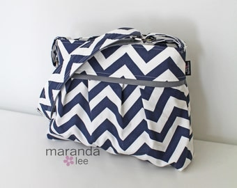 Stella Chevron Diaper Bag Medium - Navy Chevron with Grey - 6 pockets Adjustable Strap Attach to Stroller
