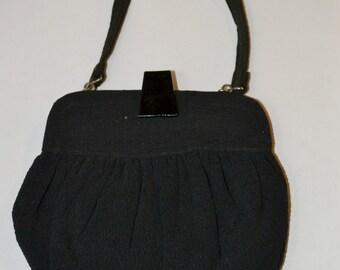 1950s Small Black Art Deco Style Formal, Evening Bag Wristlet Purse