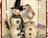 Primitive Snowman Pattern , PDF, Holiday, Christmas, Cloth Doll Pattern, Winter Snowman Pattern, PDF instant download pattern, Digital