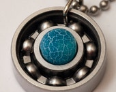 Blue Fire Agate Roller Derby Skate Bearing Pendant Necklace