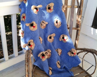 Crochetted baby afghan, blue afghan, puppies