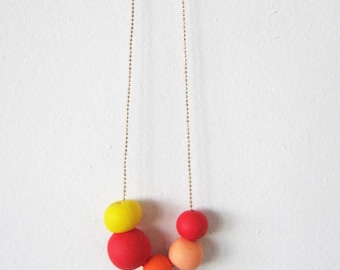 "Colored summer necklace -  beads necklace- red, yellow, orange jewelry "" Round and round"""
