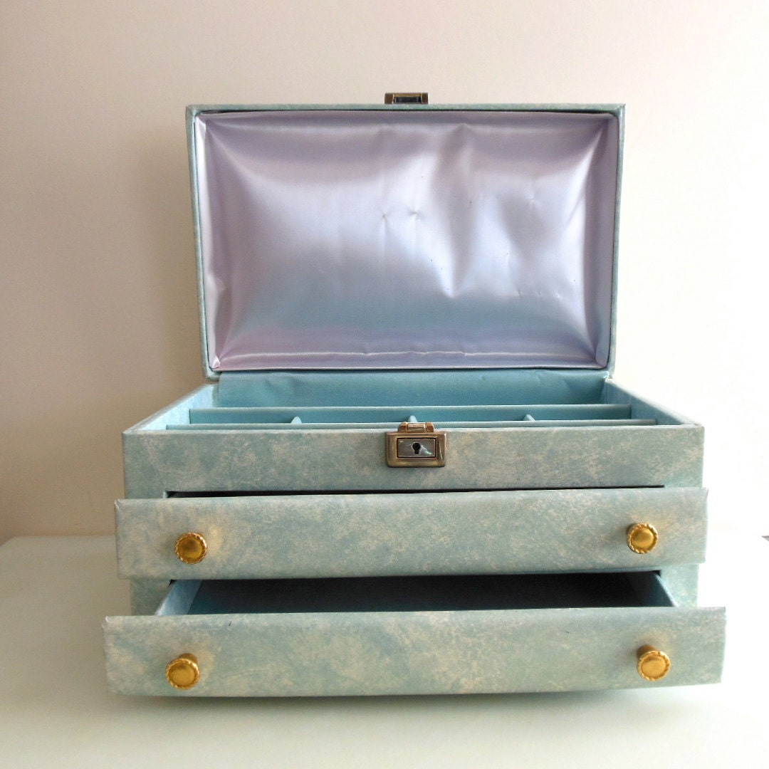A Graphic Light Box And A Mid Century Dresser Turning The: Buxton Jewelry Box With Drawers Baby Blue MADE IN USA From The