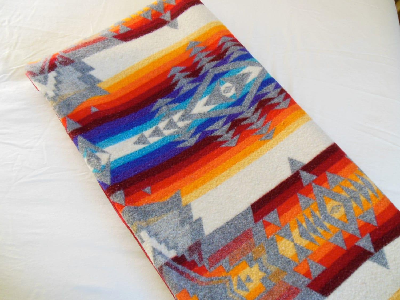 Pendleton Beaver State Wool Blanket Reversible Arrow Zig Zag