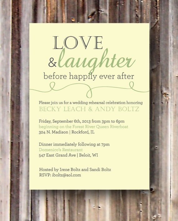 Love And Laughter Rehearsal Dinner Invitation Digital Design: Love And Laughter Rehearsal Dinner Invitation By KmdDesignsLLC