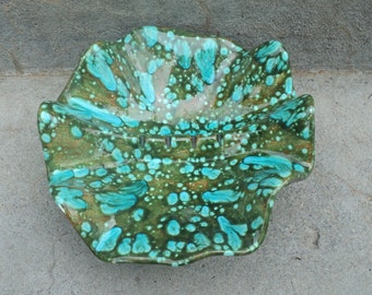 Blue Green Ceramic Art Pottery Ashtray Green Mint Copper