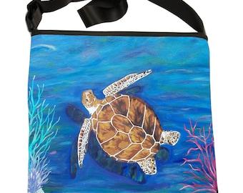 Loggerhead Sea Turtle Large Bucket Handbag by Salvador Kitti -  From My Original Oil Painting, The Pilgrim