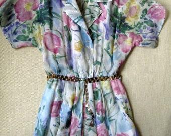 Floral Day Dress  tea frock garden party dress midi dress vintage 70s 80s sheer voile splashy print women small medium