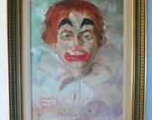 vintage painting, clown, Dorothy Paris, 1962, listed artist, framed, on board, from Diz Has Neat Stuff