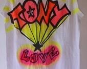 Diz silk screened tee shirt Tony Love 1980's from Diz Has Neat Stuff