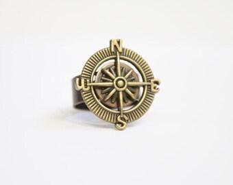 Adjustable Brass Nautical Steampunk Compass Charm Bronze Ring