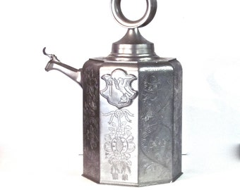 Vintage Large Pewter Flask - Canteen - Octagon Shaped with Etched Detail on all Sides