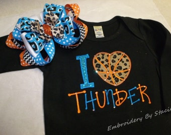 "Custom *I LOVE / Heart THUNDER"" Custom Embroidered / Appliqued Onesie or T-Shirt."