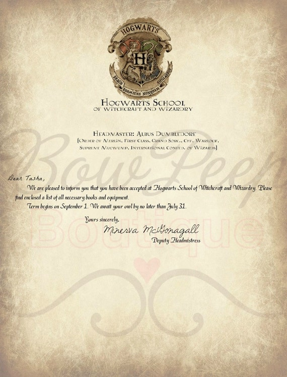 Items similar to PERSONALIZED Hogwarts Acceptance Letter