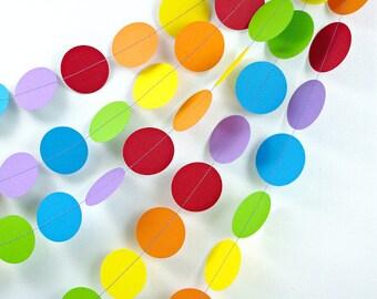 Rainbows Dots 20ft. Garland *** Rainbow Party Decor, 1st Birthday Girl, Classroom Decor, Photo Backdrop, Kids Birthday Party, Noahs Ark ***