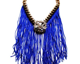Swarovski Crystal Cobalt Fringe Necklace