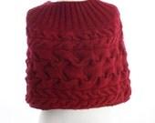 Raspberry  knit capelet. Hand knit capelet. Dark red capelet knitted by hand. Winter warm capelet. Woman fashion capelet.