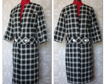 Vintage 1960's Black and White Plaid Jacket M/L