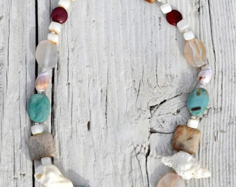 Multi Gemstone and Shell Necklace.