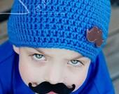 Mustache Beanie Everyday Hat - Feltie Crochet Warm Soft Beanie Photo Prop - MADE TO ORDER