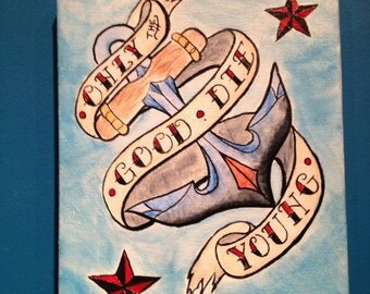 Only the Good Die Young - Anchor with banner & nautical stars