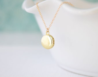 Tiny Round Brass Locket Necklace, Small Gold Locket Necklace, Small Keepsake Gift, Dainty Classic Locket, Gold Filled Chain, Olive Yew -1118