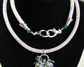 Wire Weave Cool Silver with Green Crystal Bead Bundle Extra Long