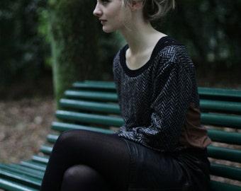 Wool knit cardigan, herringbone loose fit long sleeve jumper, black white wool sweater with brown vegan suede inserts LAST PIECE