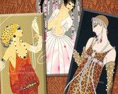 Art Deco Women - 1x2 Inch Domino Tile Images - Erte, Barbier, etc. - Digital Collage Sheet - Instant Download
