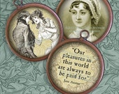Jane Austen Images - Regency, Literary, Antique Images - 20mm Circles - Digital Collage Sheet - Instant Download & Print